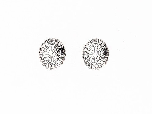 SMALL SILVER FLOWER STAMPED CONCHO POST EARRINGS E679