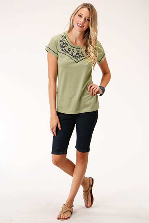WOMEN'S CHARTREUSE EMBROIDERJERSEY TEE 5054