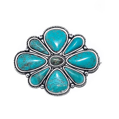 """3"""" EXTRA LARGE TURQUOISE CLUSTER PIN P004"""