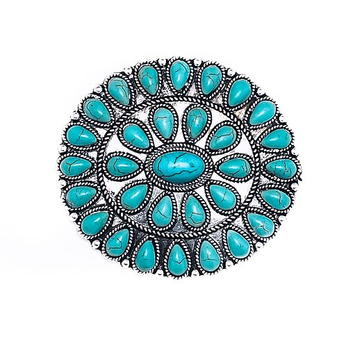 """2"""" TURQUOISE CLUSTER PIN P001"""
