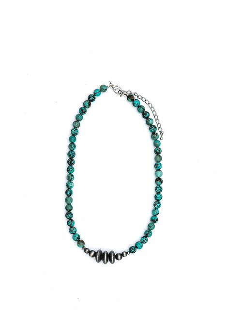"""18"""" GREEN TURQ. BEADED NECKLACE W/ NAVAJO DISC ACCENTS N1241"""