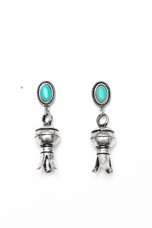 SILVER BLOSSOM EARRING ON TURQUOISE POST E729