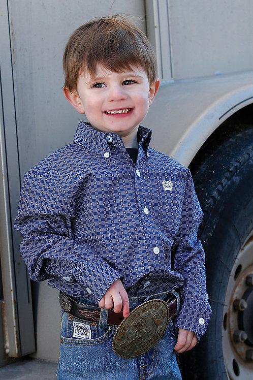 BOY'S BLUE PRINT BUTTON UP L/S SHIRT MTW7062217