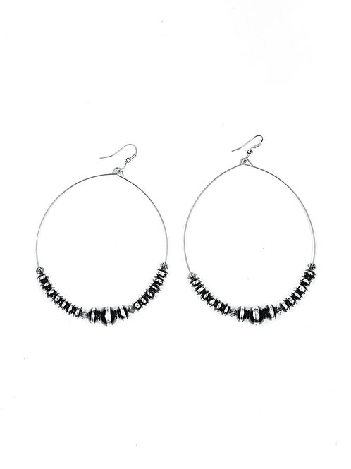 """3.5"""" BLACK/SILVER RONDELL BEADED WIRE DANGLE HOOPS E704"""