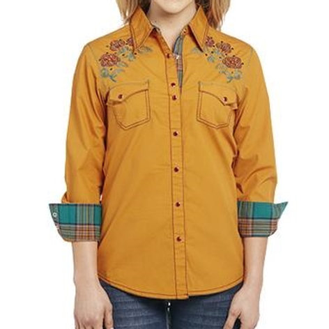 COWGIRL UP LONG SLEEVE LIGHT ENZYME WASH WOVEN SHIRT  CG80903