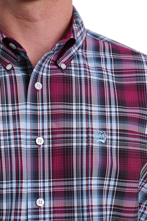 MEN'S CINCH BURGUNDY PLAID L/S BUTTON UP MTW1104999