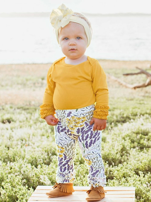 INFANT'S GOLDEN YELLOW RUFFLED L/S BODYSUIT ONMGL