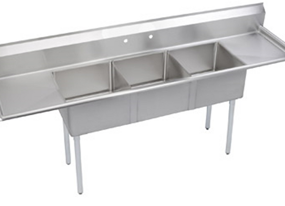 "LJ2424-3RL-D - 124"" THREE COMPARTMENT SINK W/ TWO"