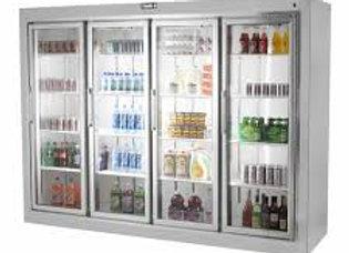 """104"""" Remote Four Door Merchandiser Refrigerator, Stainless Steel"""