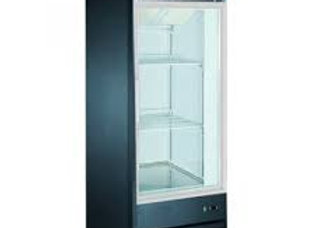 "27"" Single Glass Swing Door Merchandiser Freezer - Black"