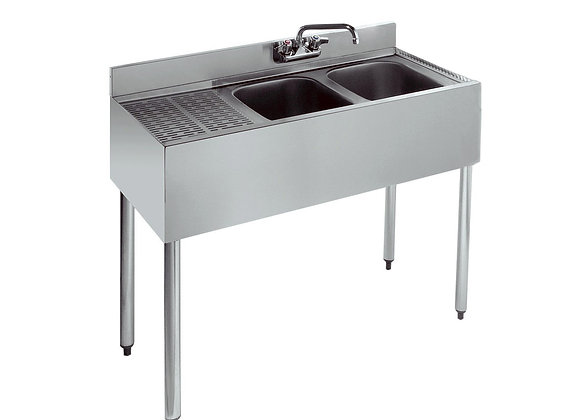 "36"" TWO COMPARTMENT BAR SINK - 12"" DRAINBOARD ON L"