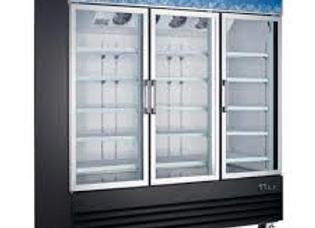 """78"""" Triple Glass Swing Door Merchandiser Refrigerator"""