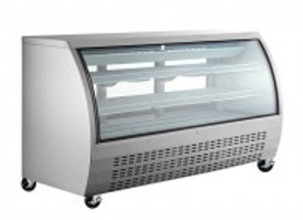 "Coldline  64"" Refrigerated Deli Meat Display Case, Curved Glass, Stain"