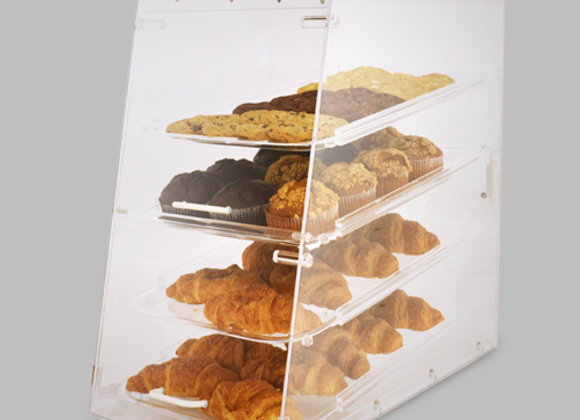 Acrylic display with 4 trays, front & rear door