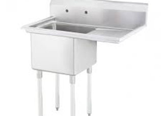 "33"" 1 Compartment Sink with 15"" x 15"" Bowl & Right Drainboard"