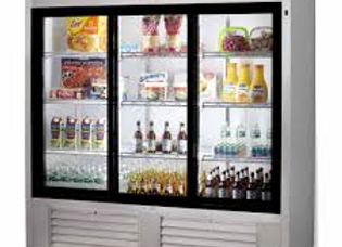 "72"" Three Sliding Glass Door Merchandiser Refrigerator, Stainless Steel"