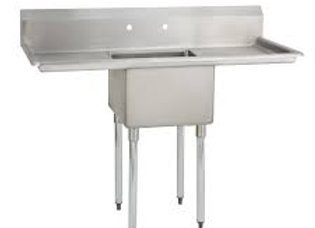 "36"" 1 Compartment Sink with 12"" x 16"" Bowl & Both Side Drainboard"