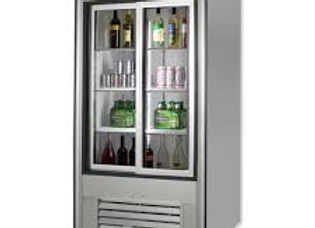 "38"" Two Sliding Glass Door Merchandiser Refrigerator, Stainless Steel"