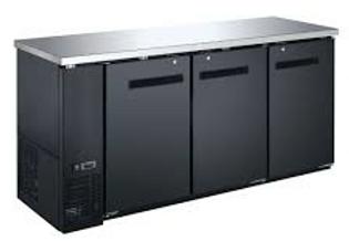 "72"" Black Solid Door Back Bar Refrigerator"