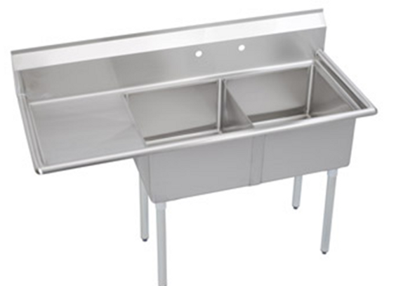 "74.5"" Two Compartment Sink W/ Left Drainboard and  Right  Drainboard"