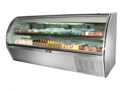"Leader  96"" Counter Height Refrigerated Curved Glass Deli Display Case"