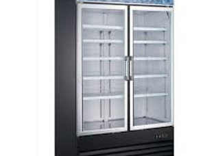 "49"" Double Glass Swing Door Merchandiser Freezer - Black"