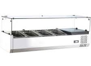"48"" Refrigerated Countertop Salad Bar, Topping Rail with Pans"