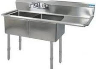 """39"""" 2 Compartment Sinks with 12"""" x 16"""" Bowls & Right Drainboard"""