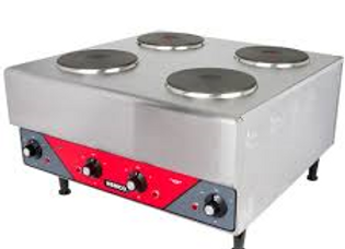 Electric Countertop Raised Hot Plate with 4 Solid Burners - 240V