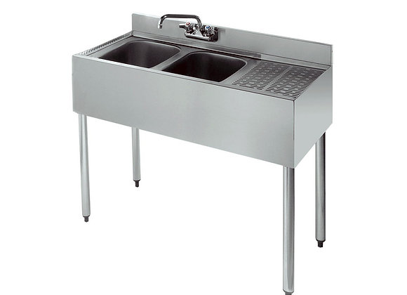 "36"" TWO COMPARTMENT BAR SINK - 12"" DRAINBOARD ON R"