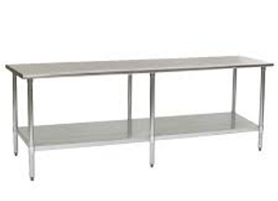 "24""D x 96""L Stainless Steel Work Table w/ Under Shelf"