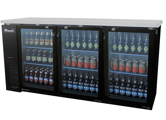 "Migali 72"" Back Bar REFRIGERATOR / Glass Doors"