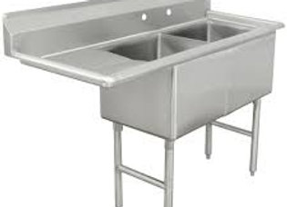 "63"" 2 Compartment Sinks with 18"" x 24"" Bowls & Left Drainboard"