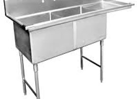 "63"" 2 Compartment Sinks with 18"" x 24"" Bowls & Right Drainboard"