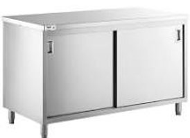 "24"" X 72"" Stainless Steel Storage Dish Cabinet - Sliding Doors"