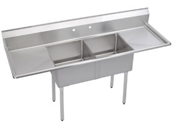 "96"" Two Compartment Deep Draw Sink W/ Two Drainboards"