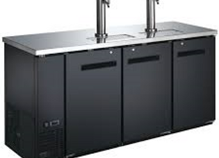 """72"""" Black 2 Tap Refrigerated Direct Draw Beer Dispenser"""