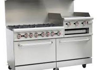 "60"" 6 Burner Gas Range with 2 Ovens with 24"" Raised Griddle and Broiler"