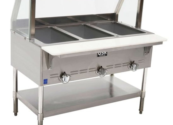 """Steam Table GST3-SG3 45"""" 3 Wells, Gas With Sneezeguard"""