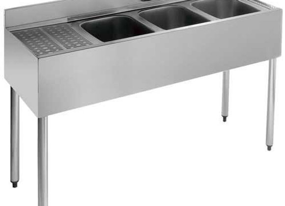 "48"" THREE COMPARTMENT BAR SINK - 12"" DRAINBOARD"