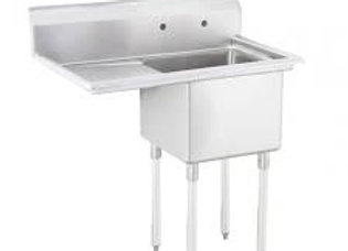 "33"" 1 Compartment Sink with 15"" x 15"" Bowl & Left Drainboard"