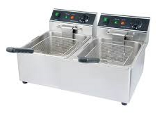 "22"" Dual Tank 26 lb. Electric Countertop Fryer, 120V"