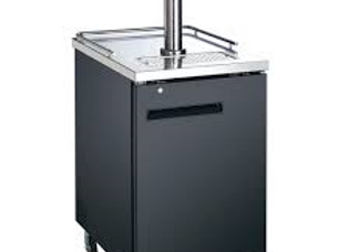 "24"" Black 1 Tap Refrigerated Direct Draw Beer Dispenser"