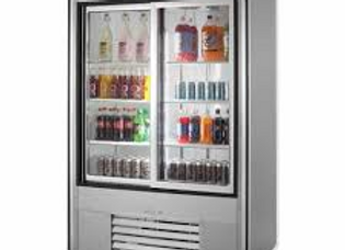 "54"" Two Sliding Glass Door Merchandiser Refrigerator, Stainless Steel"