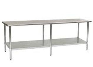 "30""D x 108""L Stainless Steel Work Table w/ Under Shelf"