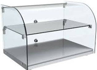"22"" Curved Glass Countertop Dry Glass Food Display Case"
