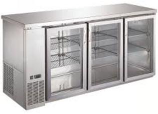 "72"" Stainless Steel Counter Height Narrow Glass Door Back Bar Refrigerator"