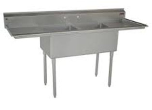 "48"" 2 Compartment Sinks with 12"" x 16"" Bowls & Both Side Drainboard"