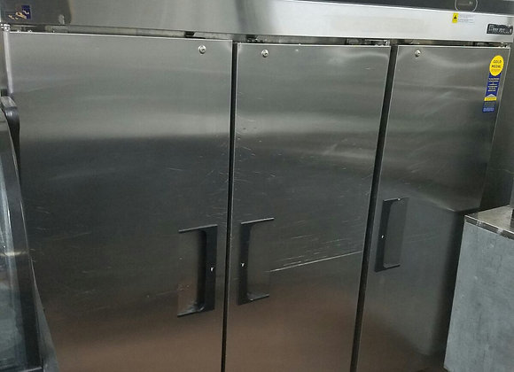 three  doors freezer stainless steel