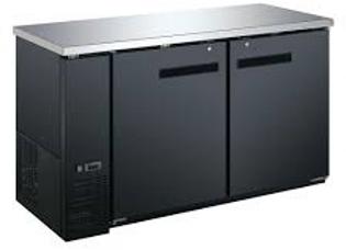 "60"" Black Solid Door Back Bar Refrigerator"